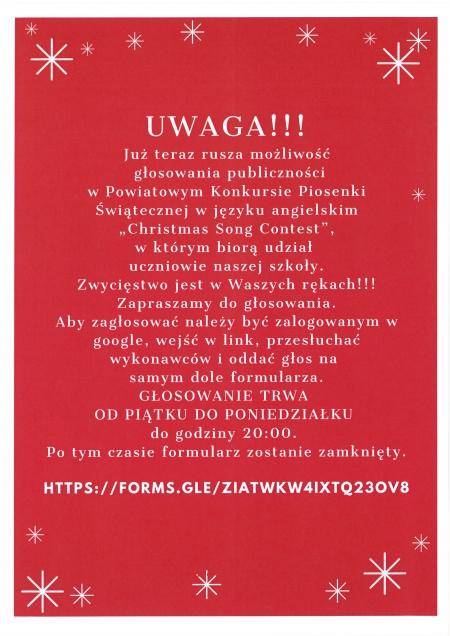 WAŻNE!!! Głosowanie publiczności w Powiatowym Konkursie Piosenki Świątecznej w język